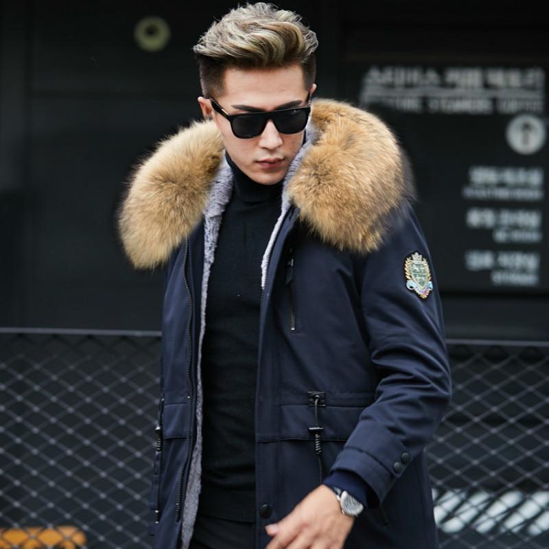 Real Natural Liner Raccoon Collar Parka Men Streetwear Warm Parkas Plus Size Jackets Mink Fur Coat YY593
