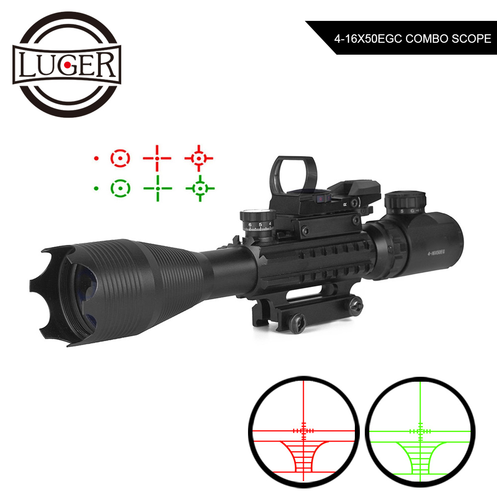 4-16x50 EG Tactical Optical Green Red Illuminated Rifle Scope With Red Dot Reflex 4 Reticle Laser Sight Combo Hunting Scope
