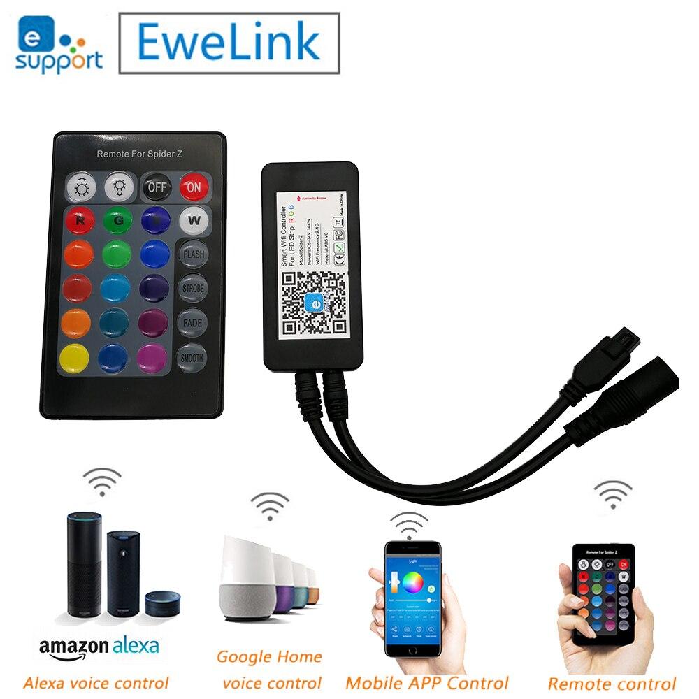 Spider Z Smart Wifi RGB LED Strip Controller 24Key IR Remote DC5V 12V 24V Support Alexa TMALL GENIE Google Home EWELINK APP