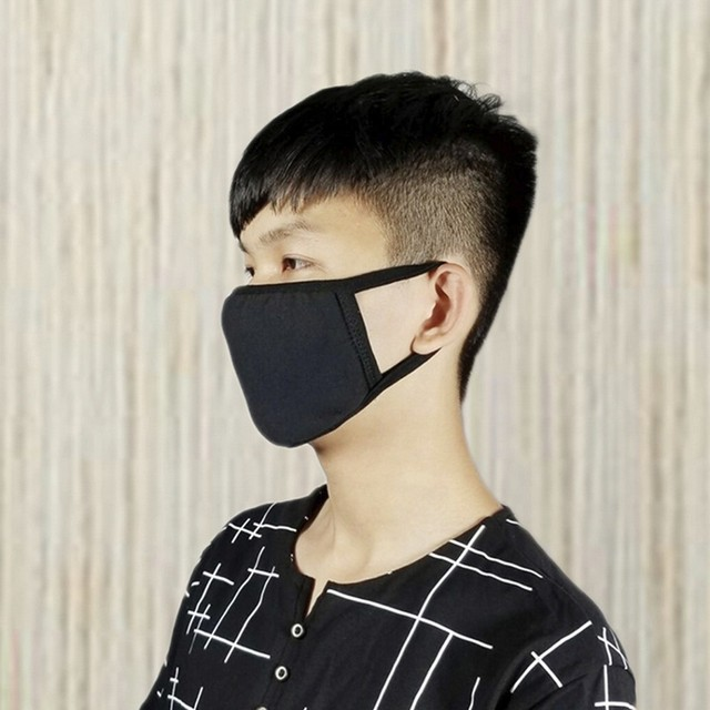 3pc Reusable IN STOCK Mask Cotton Comfy Breathable Safety Air Fog Respirator Masks for Women Black mouth Mask 2