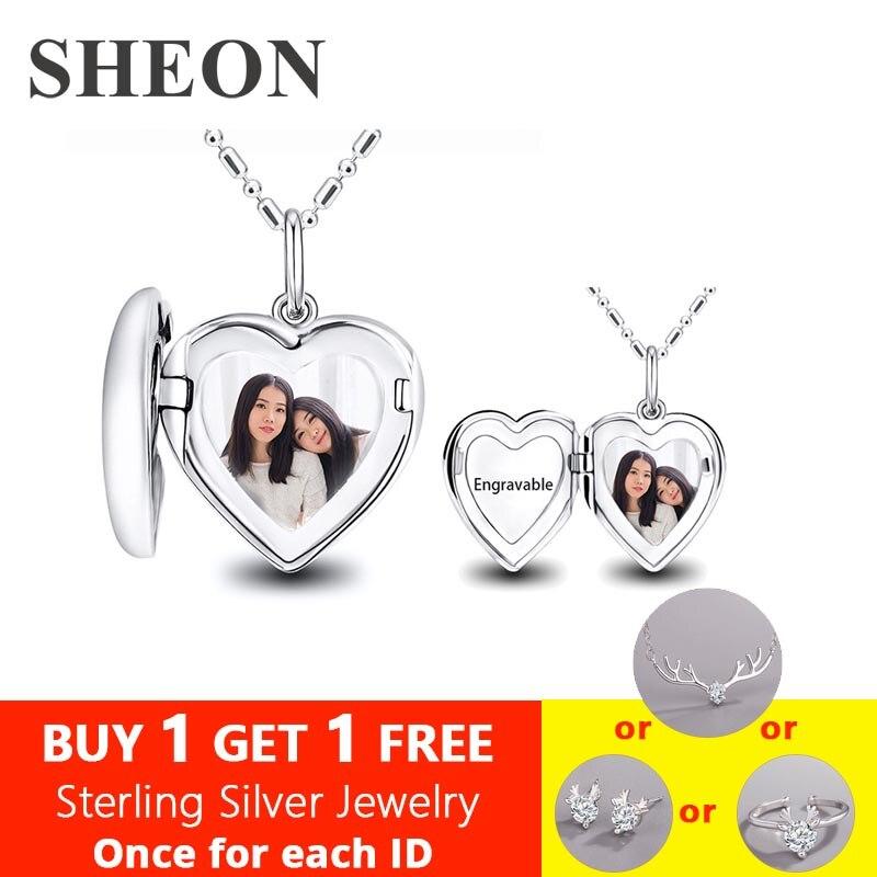 SHEON 100% 925 collier en argent Photo personnalisée à faire soi-même pour femme bijoux en argent nom personnalisé pendentif Photo pour cadeau d'anniversaire de mère