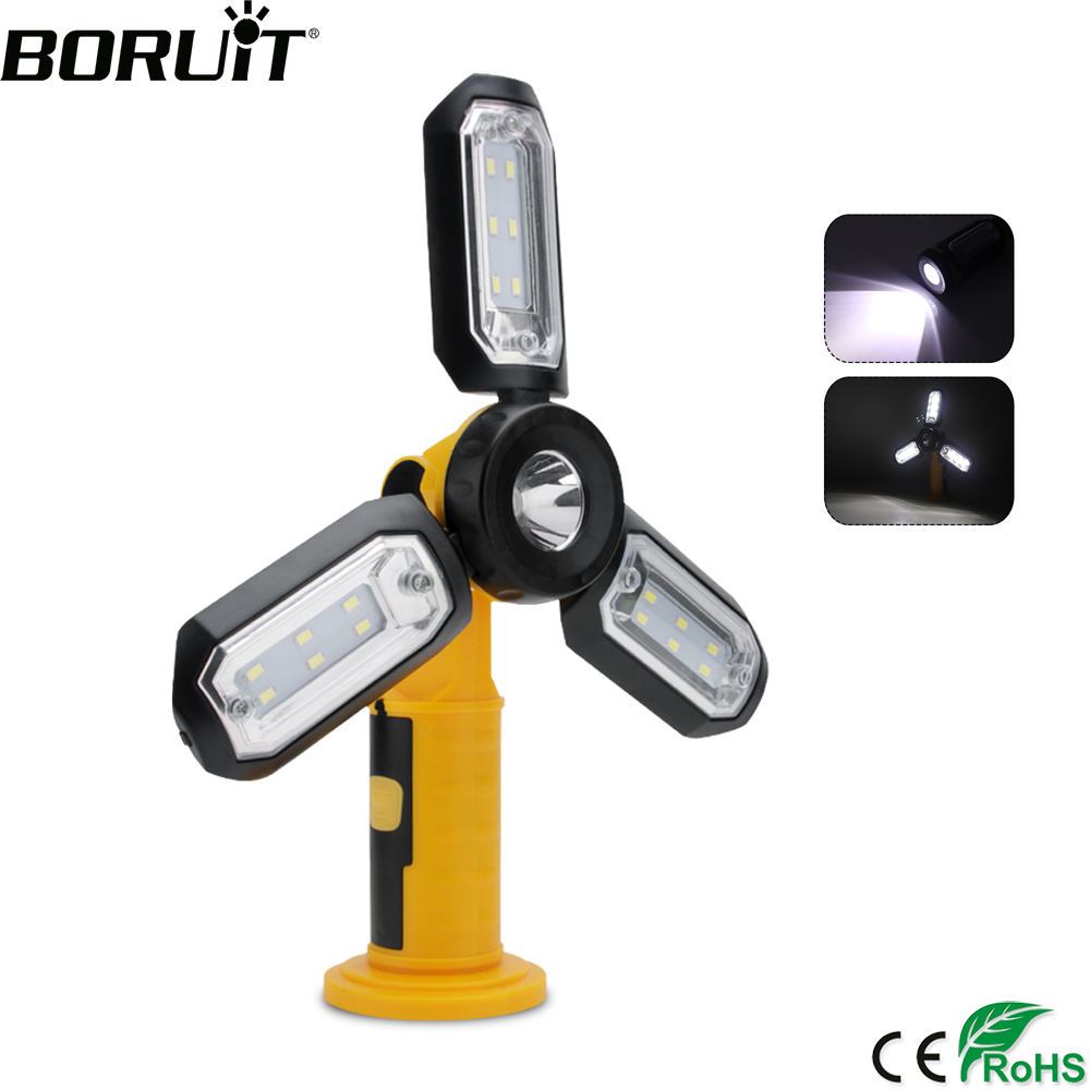 BORUiT COB LED Working Light Portable Foldable Flashlight Magnetic Fan Lights Hook For Car Repairing Camping Tent Fishing