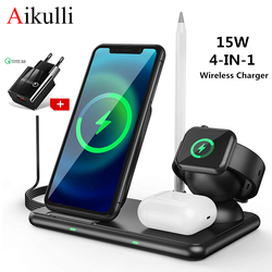 Wireless Charger Station 15W Fast Wireless Charging Dock 4 in 1 for iPhone 12 11 Pro XR XS X Apple Watch 6 5 4 3 Airpods Pencil