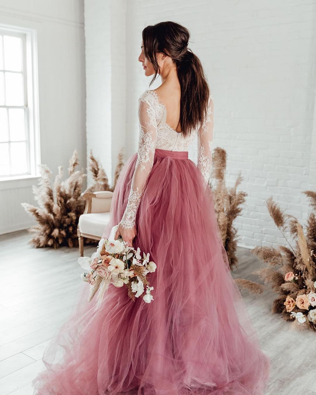 Sexy Vintage Candy Pink Lace Long Sleeves Plus Size Beach Boho Wedding Dress Gowns 2019 Bride Dress Vestido De Noiva Gelinlik