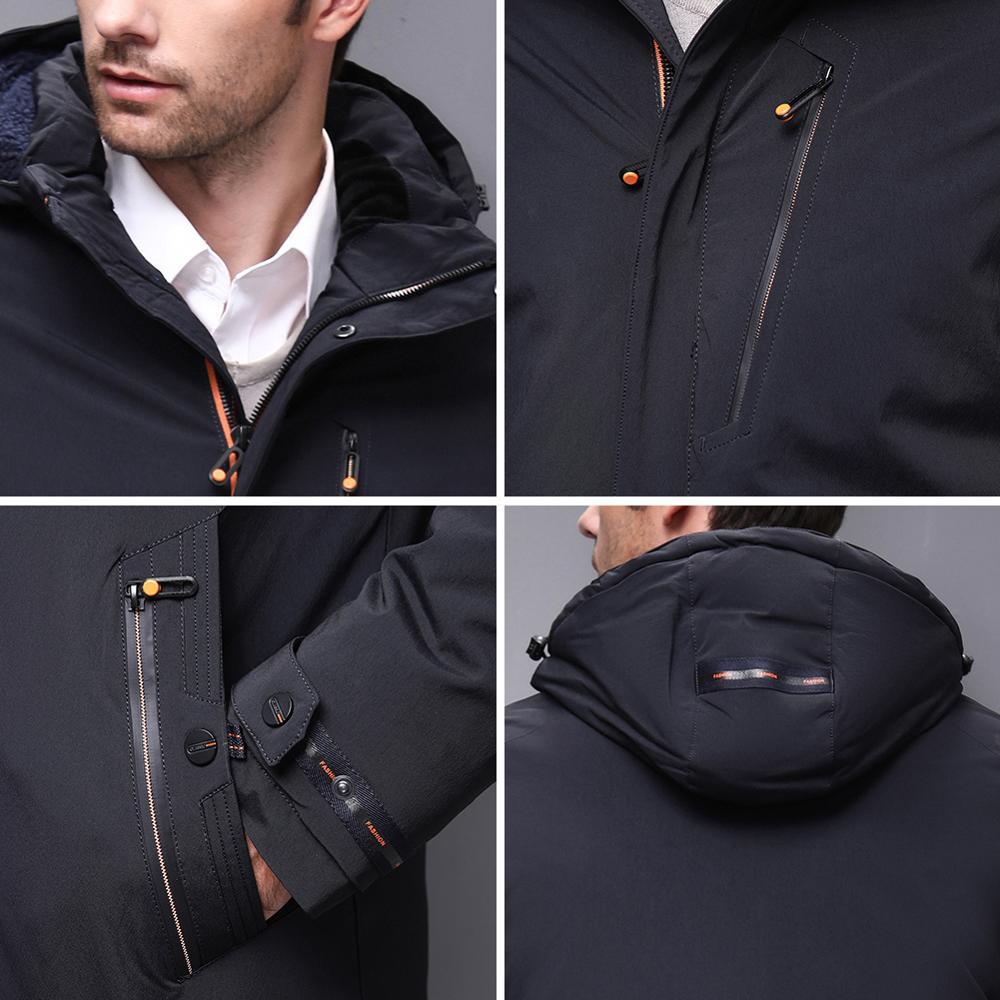 Image 5 - Blackleopardwolf 2019 chegada nova jaqueta de inverno casaco  masculino thik parka alaska outwear destacável outwear luxo à prova  vento BL 1002Parcas