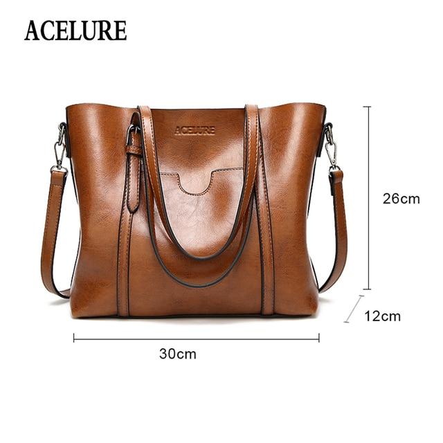 ACELURE Women bag Oil wax Women's Leather Handbags Luxury Lady Hand Bags With Purse Pocket Women messenger bag Big Tote Sac Bols 2