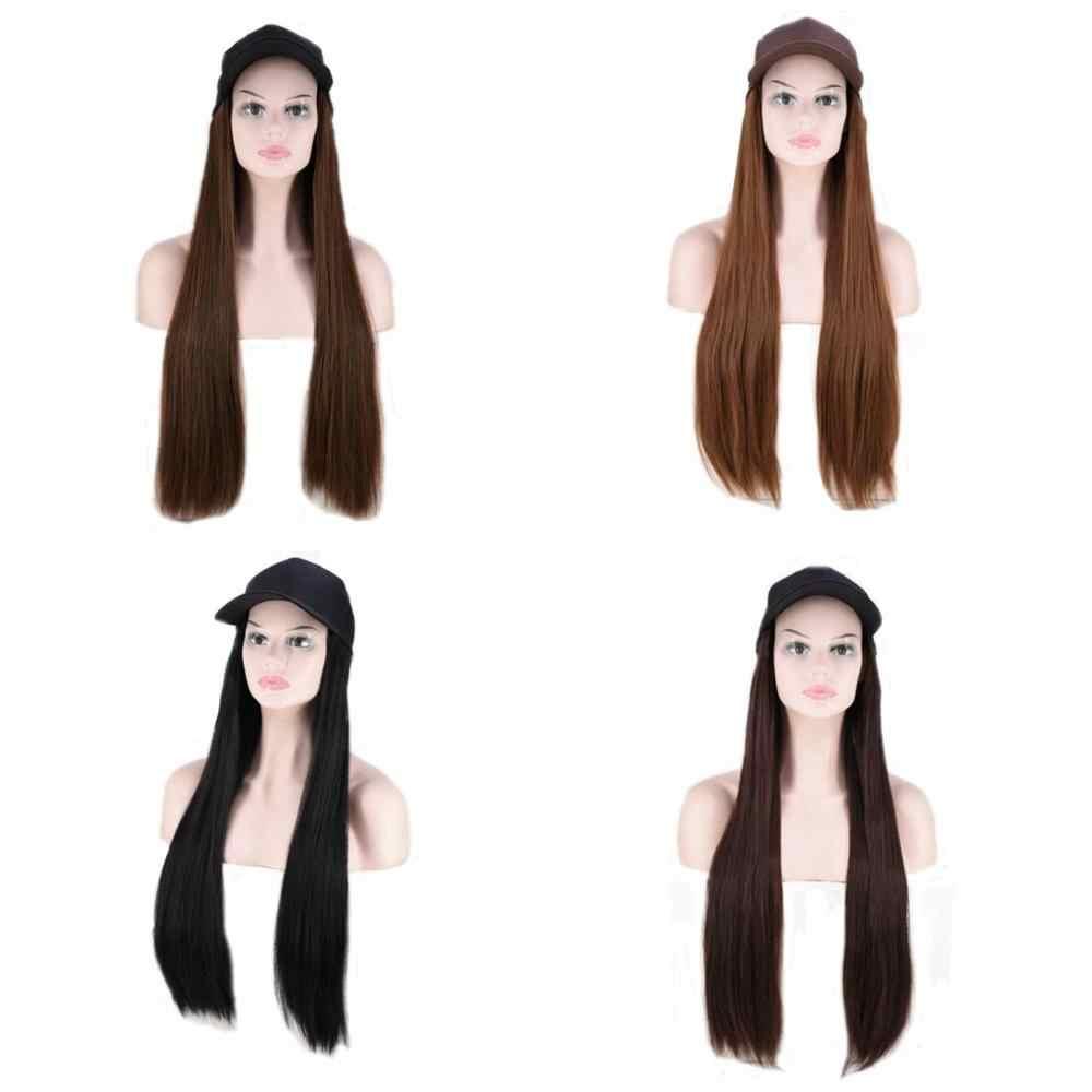 "Joy & Kecantikan 24 ""Panjang Alami Lurus Wig Serat Suhu Tinggi Hitam Coklat Sintetis Ekstensi Rambut Mengintegrasikan Cap dengan rambut"