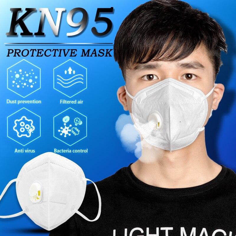 10pcs Mask KN95 PM 2.5 Anti Virus Formaldehyde Bad Smell Bacteria Respirator Valve Dust-proof Mouth Masks Coronavirus Prevention