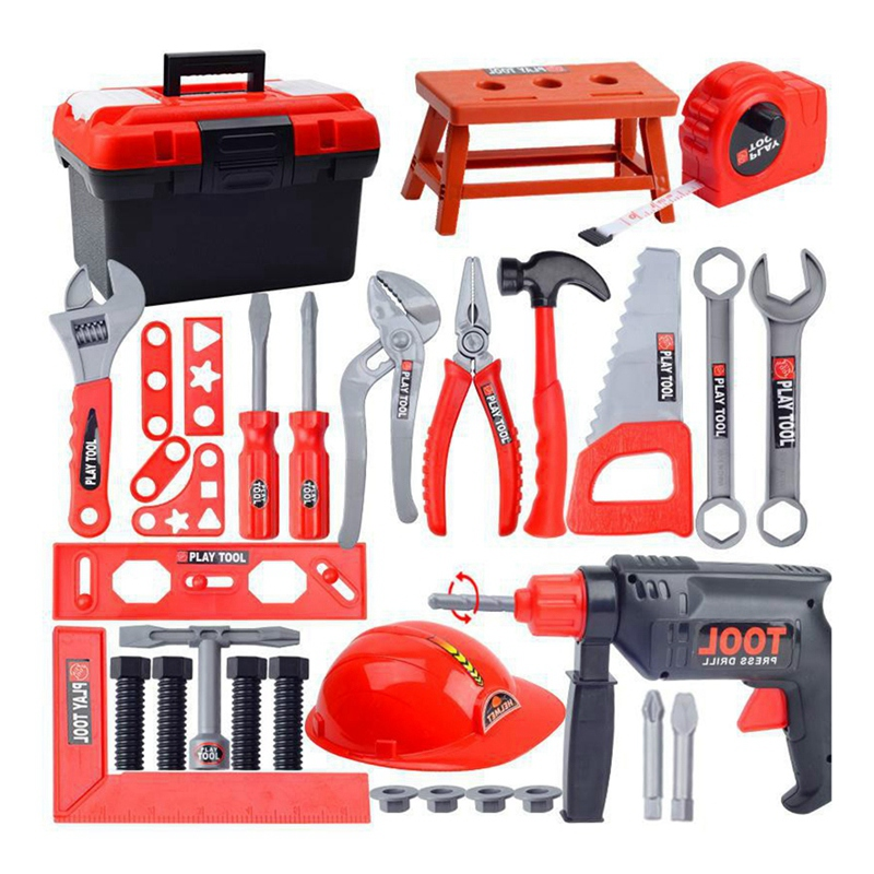 Hot-Kids Toolbox Kit Educational Toys Simulation Repair Tools Toys Drill Plastic Game Learning Engineering Tool Toys Gifts 31Pce