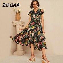 ZOGAA Boho Summer Dress for Women Floral Print V Neck Ruffles Beach Party Sundress 2019 Ladies Elegant Long Vestidos De Festa