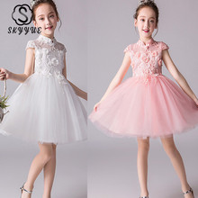 Skyyue Lace Flower Girl Dress Illusion Tulle Flower Girl Dress for Wedding High Collar Bow Kid Party Communion Gown 2019 DK2969 puffy white tulle high low flower girl dress bling golden sequins floral little kid birthday evening party gown with headpiece