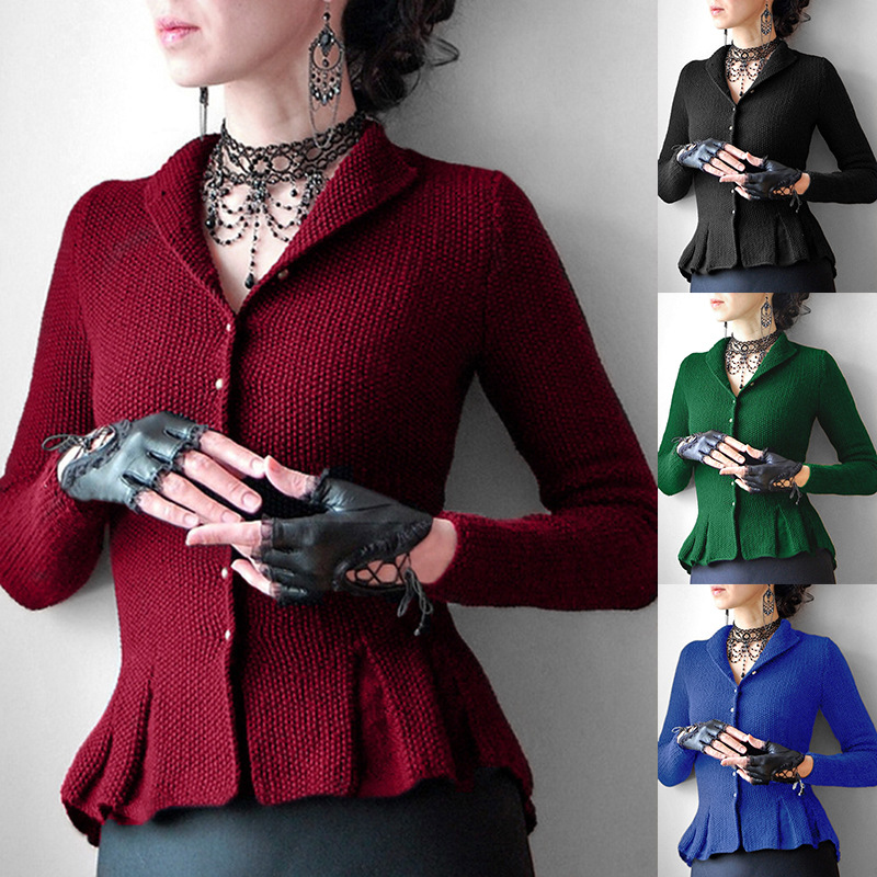 Knitted Sweater Women Autumn Spring Elegant Office Ladies Causal Solid Slim Short Cardigan Coat Red 2XL Gothic Black Female Tops