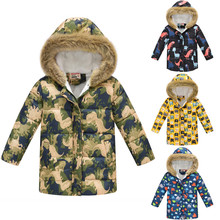 Toddler Baby Kid Boys Winter Cat Thick Warm Parkas Hooded Windproof Coat Outwear Soft Cotton Blend Print Long Sleeve Baby Coat