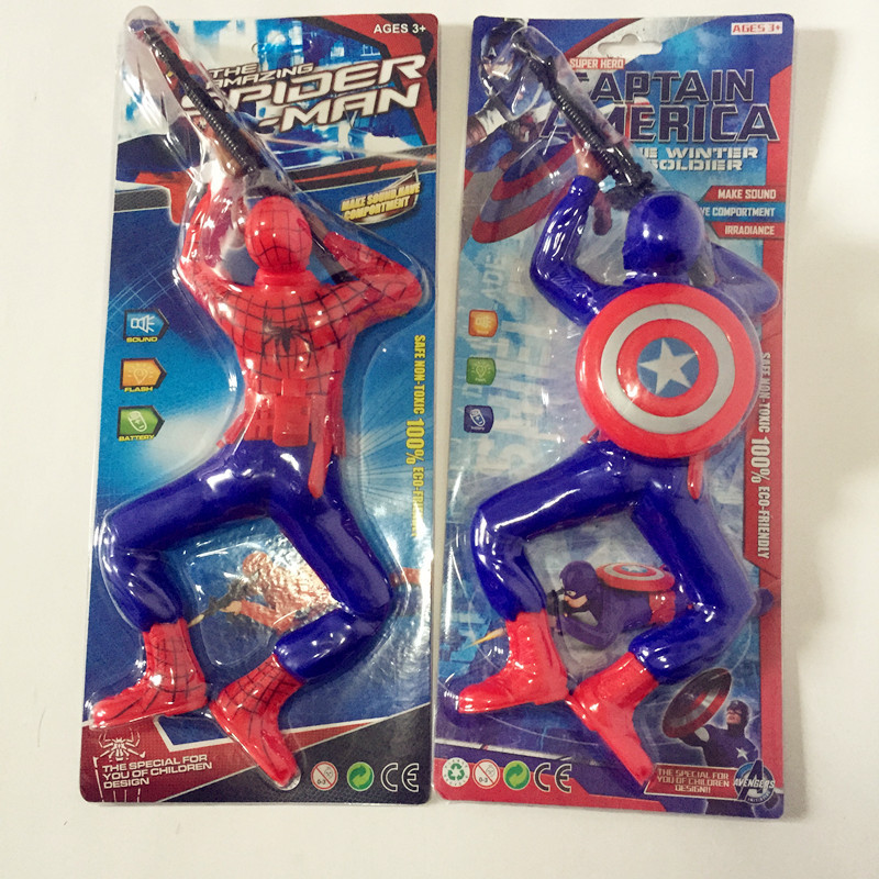 Electric Toys Gift Spider-Man Crawling Soldiers Electric America Captain Shoot Children Stall Shining Douyin Toy