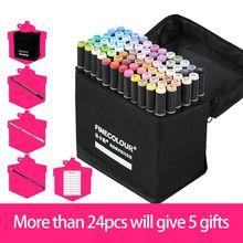 Finecolour EF103 markery na bazie alkoholu z torbą 12/24/36/48/60/72/240 kolory tłustej miękkiej dwugłowicowej Marker Professional