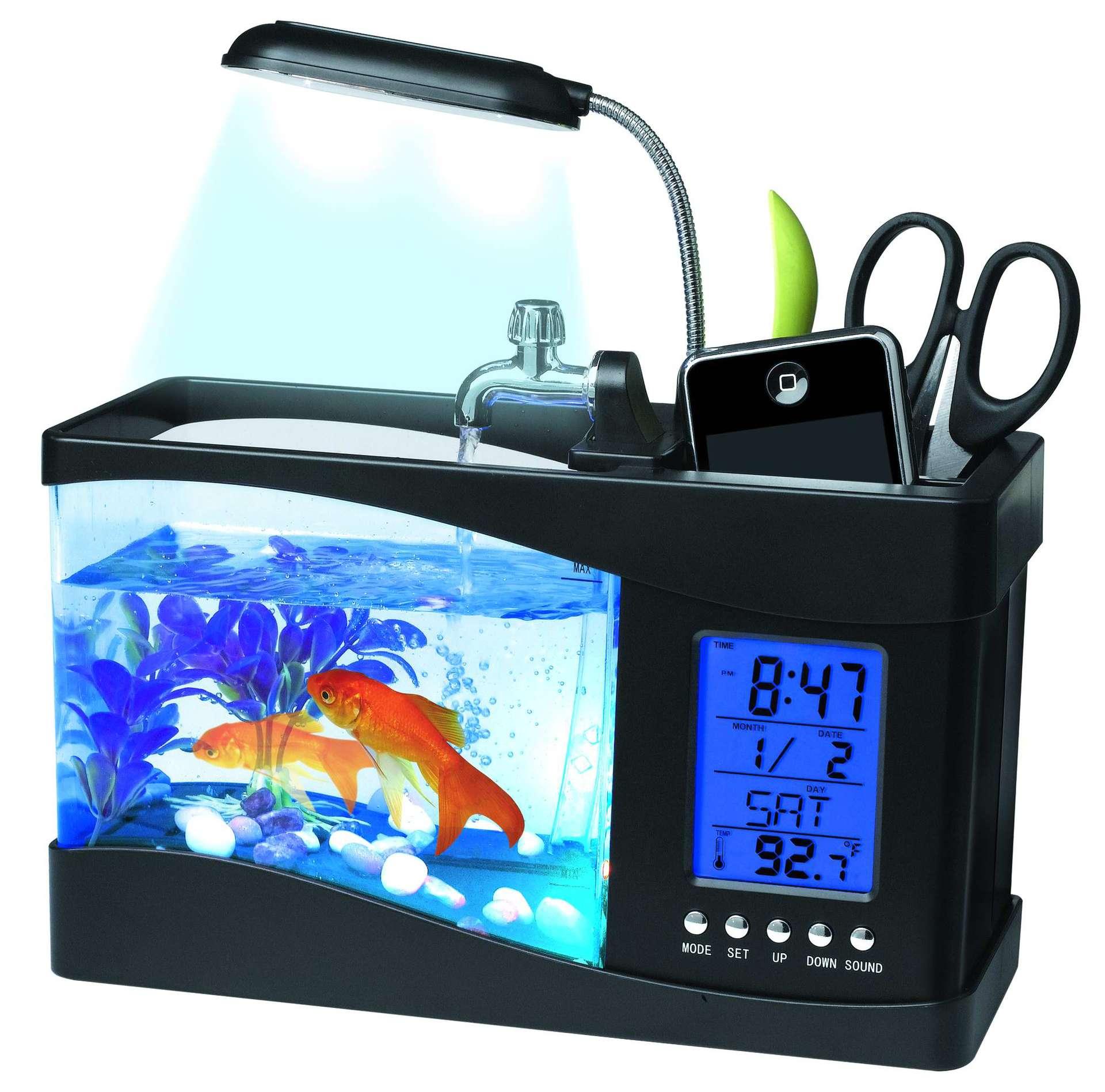 Mini Aquarium d'aquarium de 1.5L Aquarium rassurant d'aquarium d'usb avec l'écran d'affichage à cristaux liquides de lumière de lampe à LED et l'horloge peceras y acuarios 2