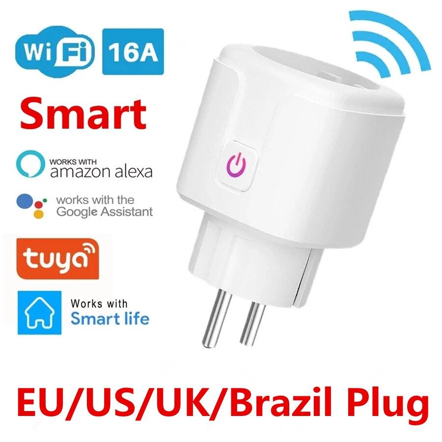 WiFi смарт-розетка ЕС Бразилия 16A Мощность монитор Функция времени Tuya приложения SmartLife Управление работает с Alexa и Google Assistant