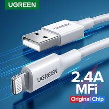 Ugreen MFi USB kablosu iPhone 12 Mini 2.4A için hızlı şarj USB şarj iPhone 12 Pro Max 11 XR 8 veri kablosu USB şarj kablosu