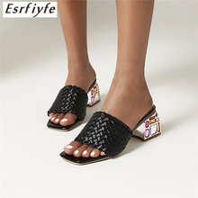 Slippers Summer Mules-Shoes Crystal-Heels Square-Head Diamond Slides Women High-Heel