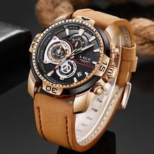 цена на LIGE Mens Watches Top Brand Luxury Brown Leather Quartz Clock Male Sports Waterproof Watch Gift Gold Watch Men Relogio Masculino