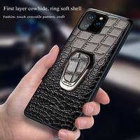 case iphone 5 Magnetic ring holder case for iphone 11 pro max Genuine leather shockproof protection cover for iphone 7 8 Plus X XS XR 6 S 5 SE (4)