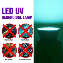 220В E27 ультрафиолетового бактерицидные лампы MR16 светодиодные лампы GU10 УФ стерилизации свет E14 дезинфекция 48 60 80leds В22