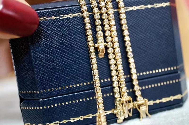 LUOWEND 18K Au750 Solid Yellow Gold Bracelet Real Natural Diamond Bracelet Fashion Tennis Bracelet Fine Jewelry Customize 3