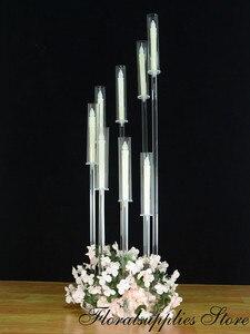 2020 New Arrival przezroczysty akrylowy Centerpieces kandelabr kryształowy ślub stół dekoracyjny dekoracyjny świecznik 8 Arms świeczniki