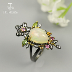 Luxury Colorful Opal Ring Pear 10*14mm Natural Ethiopia big size opal colorful tourmaline Gemstone Jewelry 925 sterling silver