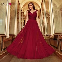 Длинные платья для выпускного Ever Pretty, платья из тюля с V-образным вырезом, без рукавов, трапециевидного силуэта, сине-зеленого, розового цвет...