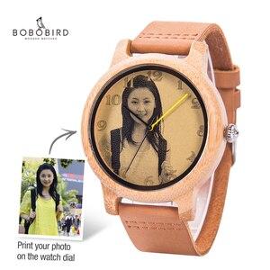 Image 1 - מותאם אישית שעונים אישי תמונה הדפסת מותאם אישית שעון זוג גברים נשים גודל עם עץ אריזת מתנה אנלוגי Relogio Feminino Masculino
