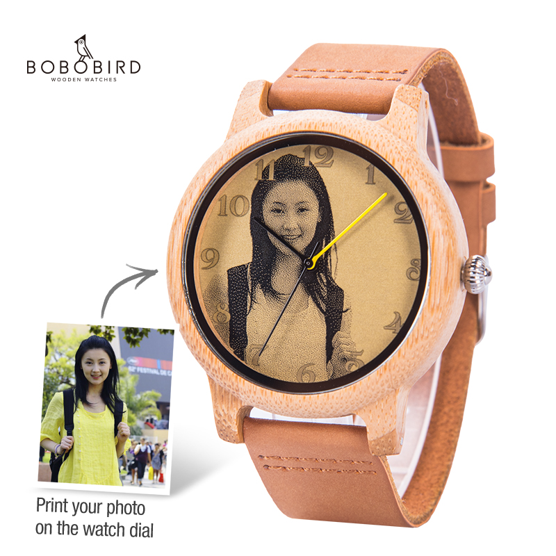 Custom Watches Personal Photo Print Customized Couple Watch Men Women Size With Wood Gift Box Analog Relogio Feminino Masculino
