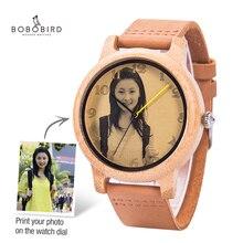 Relojes personalizados para hombre y mujer, impresión fotográfica, personalizado, con caja de regalo de madera, analógico, Masculino