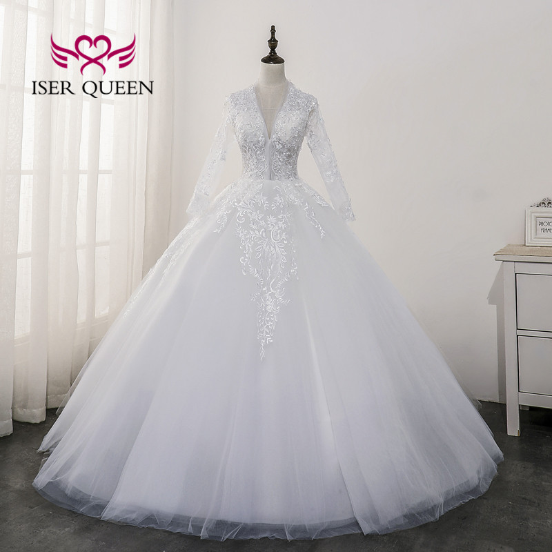 Hollow Back V Neck Elegant Wedding Dress Long Sleeves Lace Applique Vestidos De Novia 2020 Pure White Bride Dress WX0173