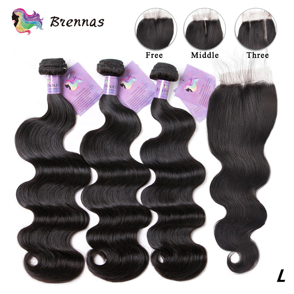 Malaysia Human Hair Bundles With Closure Body Wave Hair With Lace Closure Non-Remy Human Hair Weave 4X4 Closure 8-26'' Low Ratio