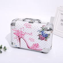 European and American style makeup jewelry box aluminum alloy PU leather multifunctional portable cosmetics jewelry storage box