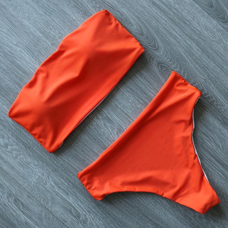 H80ab0152b23f445d8c121cbb910cb00bA High Leg Bandeau bikini set Swimwear female two pieces swimsuit High Waist Bikini Women Bathing Suit biquini