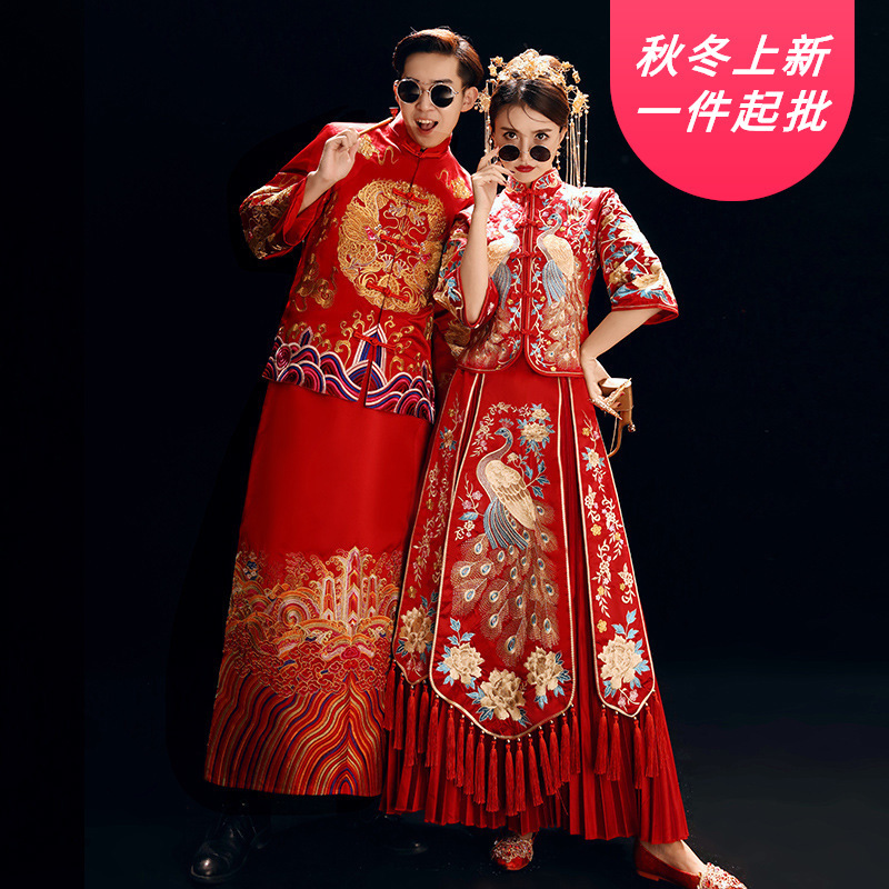 2020 Mao Suit Smoking Masculino Xiuhe Bride's Hot Spring Wedding Dress 2020 Men's And Women's Embroidered Kimono Chinese Couple
