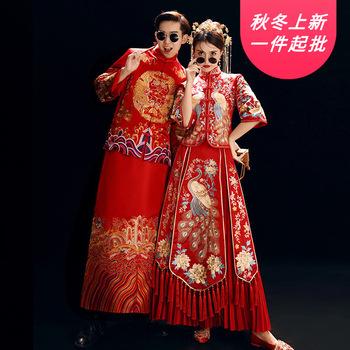2020 Mao garnitur palenia Masculino Xiuhe panna młoda gorąca wiosna suknia ślubna 2020 męska i damska haftowane Kimono chińska para tanie i dobre opinie GENGLI Poliester Groom wear Smokingi Sztruks Suzhou QF XiuHe suits Spring 2020 Will have the model S M L XL XXL