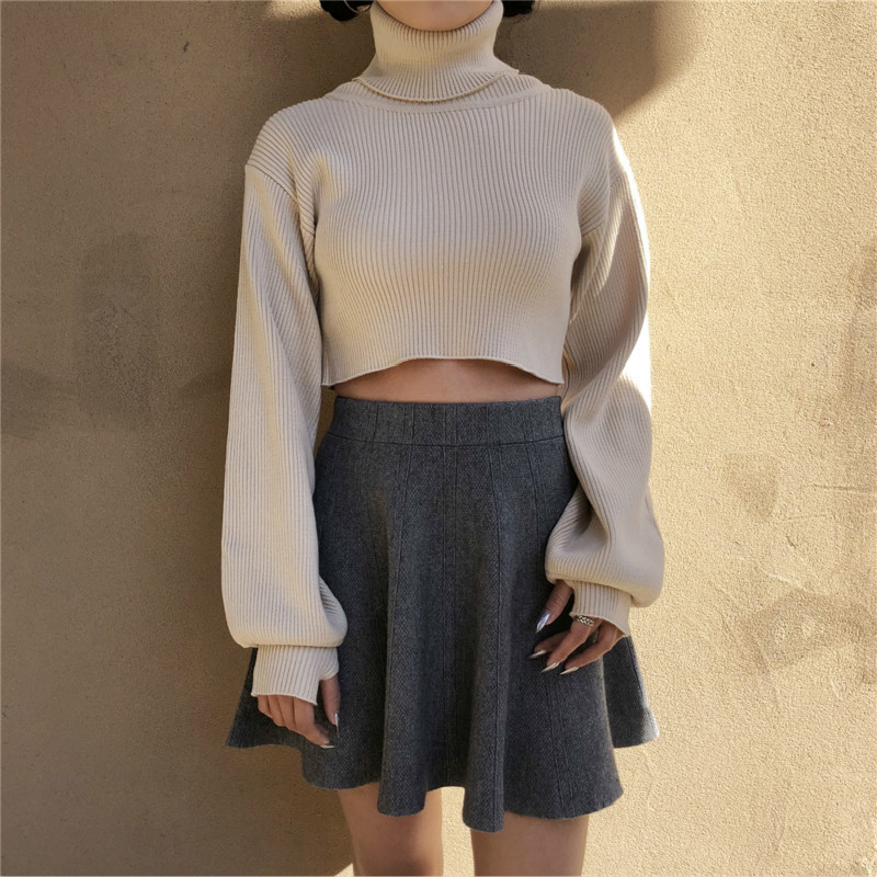 Lantern Sleeve Short Sexy Sweaters Turtleneck Solid Color Women's Warm Knitting Pullovers