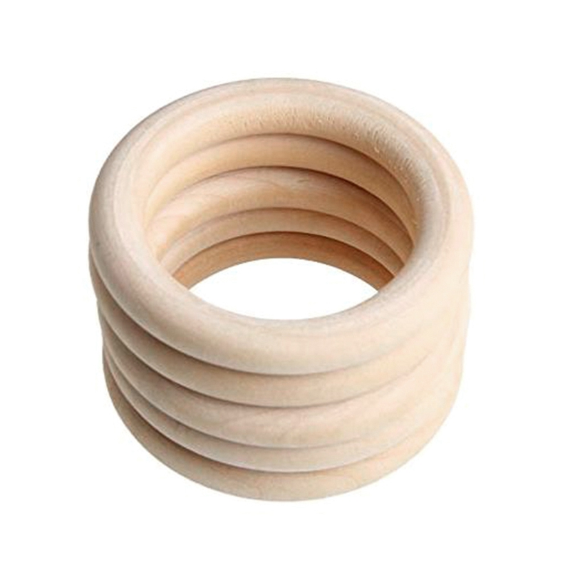 DIY Processing Semi-Finished With Large Hole Primary Color Wooden Ring 70 Mm Children Molar Handmade Accessories