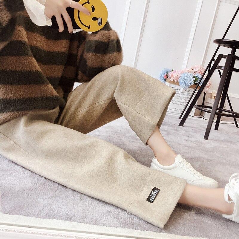 [EWQ] 2019 Autumn New Korean Trend Winter Women High Waist Minimalist Solid Color Thickening Leisure Woolen Wide Leg Pants QK972 29