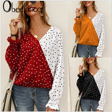 2019 autumn and winter stitching wave long sleeve shirt casual shirt Polka Dot  Sleeve Women Deep V-neck Sexy Chiffon  T Shirt цены