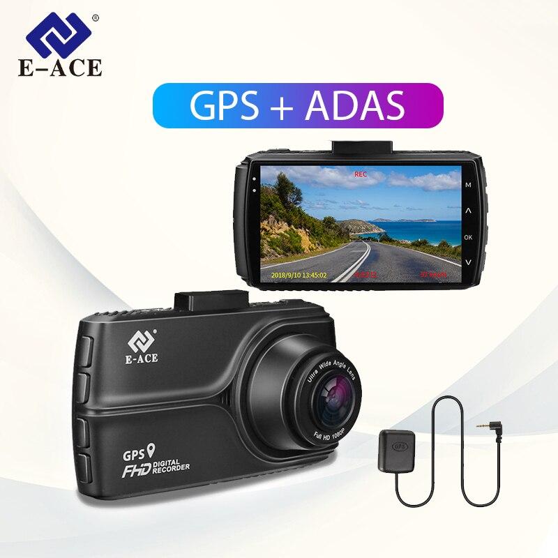 E-ACE B18 Dash Cam GPS ADAS Auto DVR Kamera FHD 1080p Dashcam Mit Rückansicht Kamera 24H Parkplatz monitor Registratory Camcorder