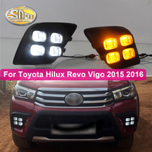 цена на For Toyota Hilux Revo Vigo 2015 2016 2Pcs Car LED Daytime Running Light DRL fog lamp cover with yellow turn signal style relay