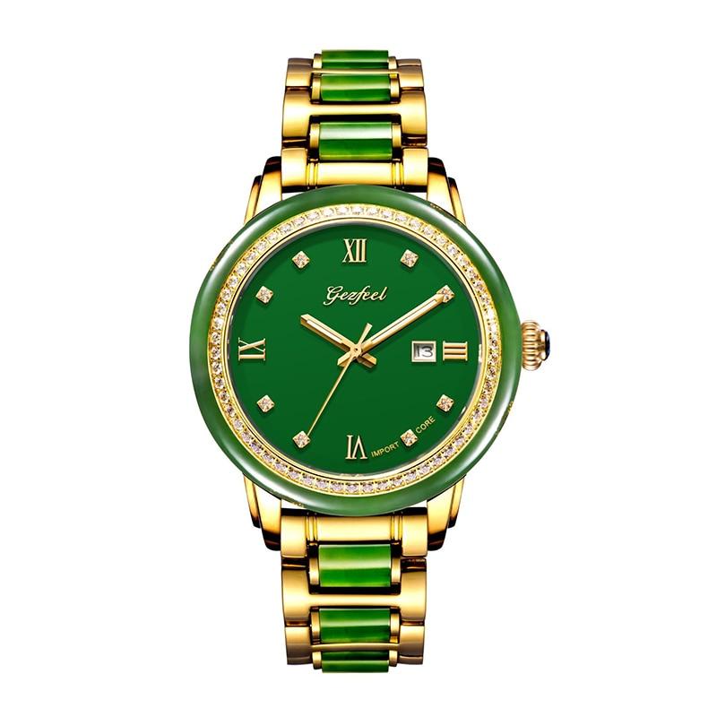 GEZFEEL Japan Movement Diamond Natural Jasper Watch Natural Jade Mechanical Watch New Men's Watches Male Wristwatch Man Gift