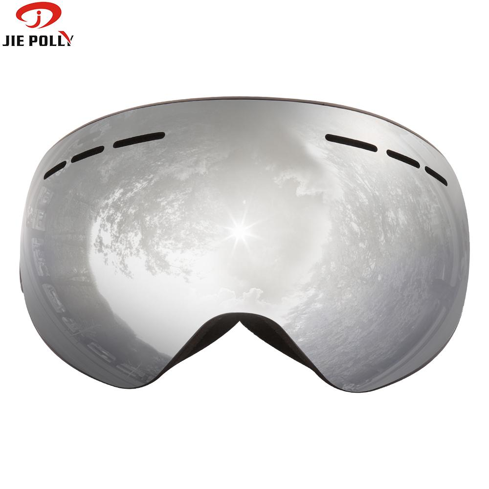 Jiepolly Ski Goggles With Anti-fog Magnet Lenses Spherical Big Vision Ski Face Mask Glasses Skiing Skating Glasses For Women Men