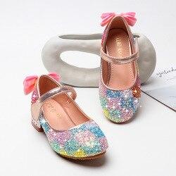 Letnie dziecięce buty dziewczęce sandały princeski skóra z brokatem modna tęcza na co dzień dziecięce buty weselne Bowtie Dress Shoes Sandały Matka i dzieci -