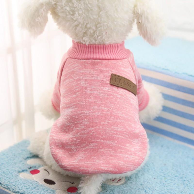 Одежда для собак, теплый свитер, мягкая куртка для чихуахуа, одежда для собак, одежда для щенков, куртка для собаки, зимняя одежда для маленьких собак - Цвет: Розовый