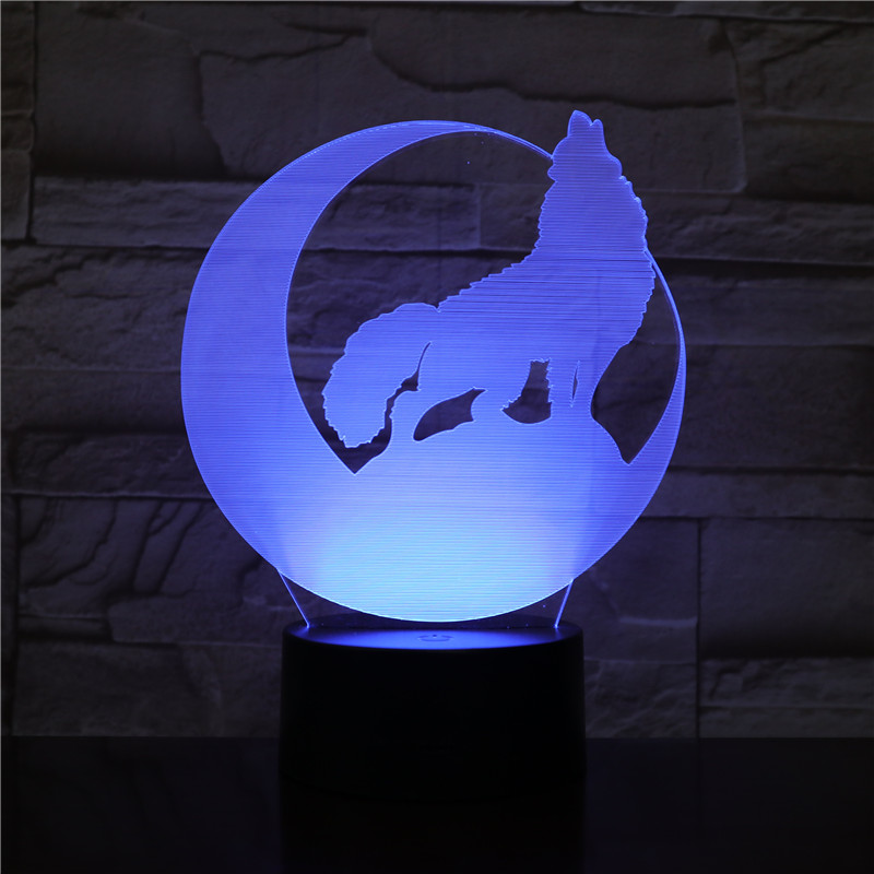 3D-2012 moon Night Howl Wolf 3D LED Acrylic RGB Night Light USB Touch Control Home Decro Kids Desk Lamp Child Christmas Gift image